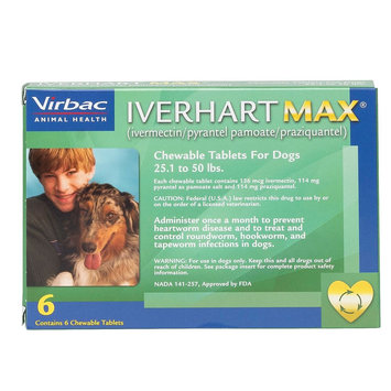 Iverhart Max Chewable Tablets for Dogs - 6 Pack size: 25.1-50 lbs