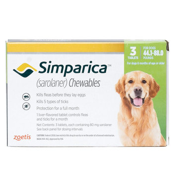 Simparica for Dogs - 3 Pack size: 44.1-88 lbs