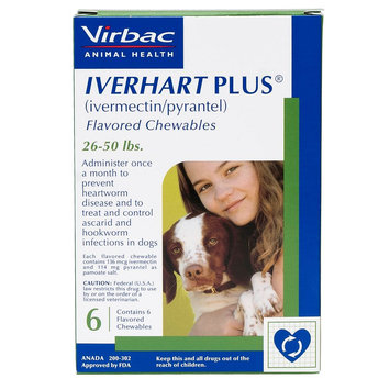 Iverhart Plus Chewable Tablets for Dogs - 6 Pack size: 26-50 lbs