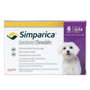 Simparica for Dogs - 6 Pack size: 5.6-11 lbs