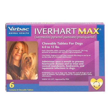 Iverhart Max Chewable Tablets for Dogs - 6 Pack size: 6-12 lbs
