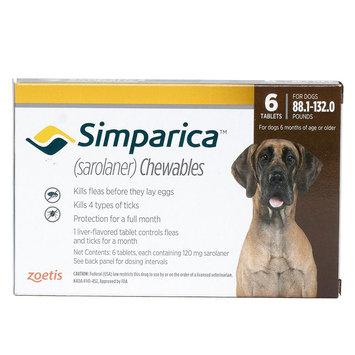 Simparica for Dogs - 6 Pack size: 88.1-162 lbs