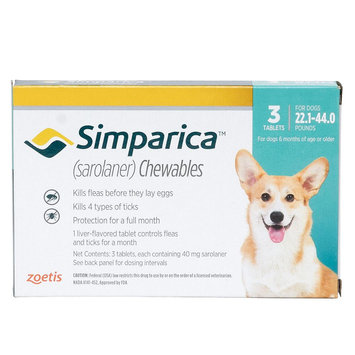 Simparica for Dogs - 3 Pack size: 22.1-44 lbs