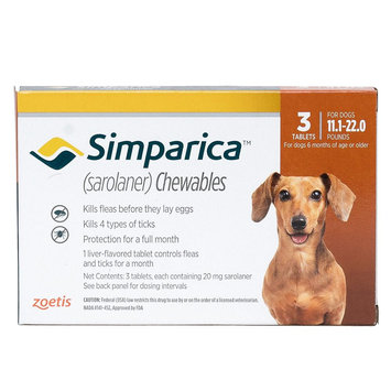 Simparica for Dogs - 3 Pack size: 11.1-22 lbs