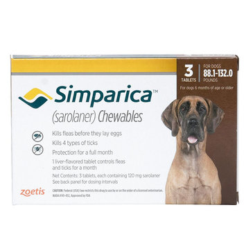 Simparica for Dogs - 3 Pack size: 88.1-132 lbs