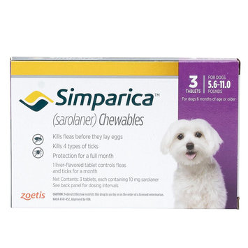 Simparica for Dogs - 3 Pack size: 5.6-11 lbs