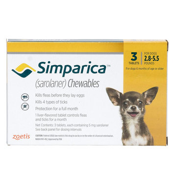 Simparica for Dogs - 3 Pack size: 2.8-5.5 lbs
