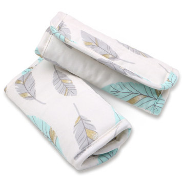 Turquoise and Grey Feathers Car Seat and Stroller Strap Covers by The Peanut Shell