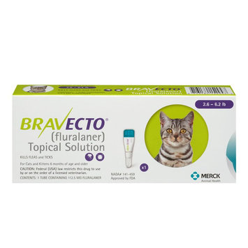 Bravecto Topical Solution for Cats size: 2.6-6.2 lbs