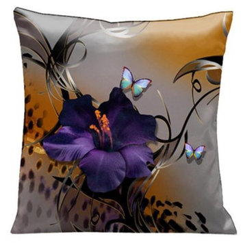 Lama Kasso 67 Butterflies and Purple Gladioli with Whimsical Black Accents on Grey and Animal Skin. 18 in. Square Satin Pillow