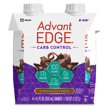 EAS AdvantEDGE Carb Control Protein Shake, Chocolate Fudge, 17g Protein, 12 Ct