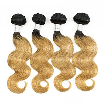 KISS HAIR Ombre Human Hair Extensions Body Wave Two Tone Colored Brazilian Virgin Remy Hair Weave Bundles for Short Bob Style