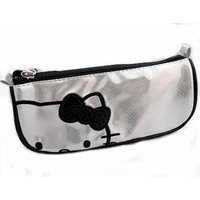 Hello Kitty Shiny Silver & Black Make-up Cosmetic Bag