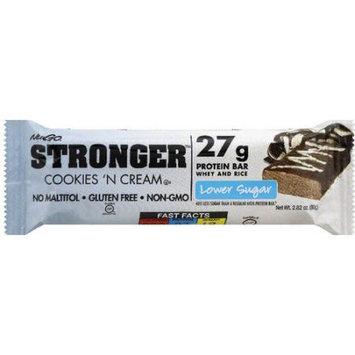 NuGo Stronger Lower Sugar Cookies 'n Cream Protein Bar, 2.82 oz, (Pack of 12)