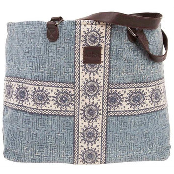 Wide Tote in Blue and White