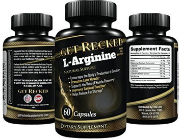 Get Recked L-Arginine Supplement - 60 Capsules - Enhancement for Men, Premium Amino Acids for Pre Work Out & Energy, All Natural Muscle Mass Formula, Boost Nitric Oxide Levels, L Citrulline - Best L Arginine