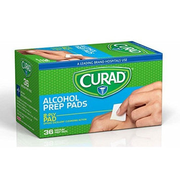 Curad Sterile 2-Ply Alcohol Swabs Prep Pads, Medium Size (Case of 1200)