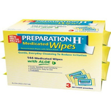 Scs-st Preparation H Medicated Wipes Maximum Formula with Aloe 3 Pack of 48 Pouches (144 Wipes Total)