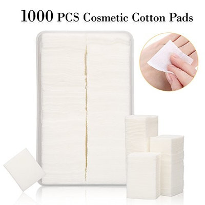 1000Pcs Lint Free Nail Wipes Nail Art Gel Polish Remover Cotton Pads in a Plastic Box – Soft Absorbent Manicure Makeup Cosmetic Cotton Pads