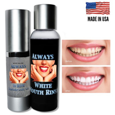 Mouth Rinse & Toothpaste Gel ALWAYS WHITE Teeth Whitening At Home System - USA