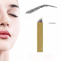 Disposable Microblading Needles - CINRA Microblading Tattoo Needles Permanent Makeup Manual Eyebrow Sloped (12 Needles 100pcs)