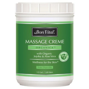 Bon Vital' Organica Massage Crème, Professional Massage Therapy Cream with Certified Organic Ingredients for an Earth-Friendly & Relaxing Massage, Organic Jojoba Oil for Easy Glide, 1/2 Gallon Jar [Organica]