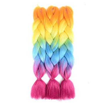 UNA HAIR 24inch 3Pcs 100g/Pcs Jumbo Braid Afro Jumbo Braiding Hair (4 Tone)