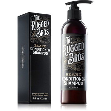 3-in-1 Beard Conditioner, Grooming Shampoo, and Face Wash by The Rugged Bros - Made with Beard Oils, Authentic Organic Moroccan Argan Oil one of the Best Growth Products (4 oz)