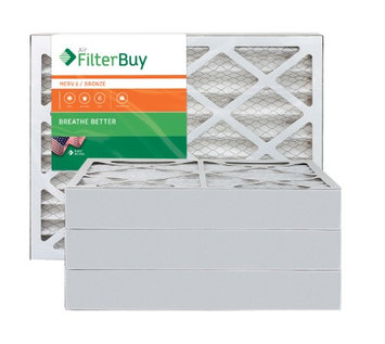 AFB Bronze MERV 6 12x25x4 Pleated AC Furnace Air Filter. Filters. 100% produced in the USA. (Pack of 4)