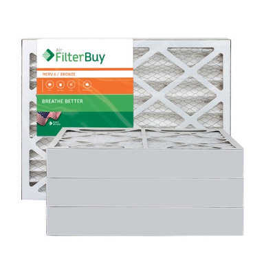 AFB Bronze MERV 6 13.25x13.25x4 Pleated AC Furnace Air Filter. Filters. 100% produced in the USA. (Pack of 4)
