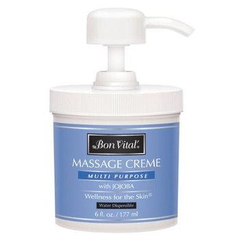 Bon Vital' Multi-Purpose Massage Crème, Professional Massage Cream with Aloe Vera to Relax Sore Muscles, Increase Circulation & Repair Dry Skin, Full Body Massage Moisturizer Cream, 6 Ounce Jar