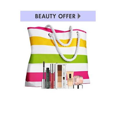 CLINIQUE Summer Tote Bag + 5 Pieces Cosmetics - Limited Edition .