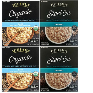 Better Oats Variety Pack Featuring Better Oats Original Flavor Steel Cut Oatmeal and Better Oats Organic Bare Oatmeal. Convenient One Stop Shopping. Who Doesnt Love Hot Oatmeal?