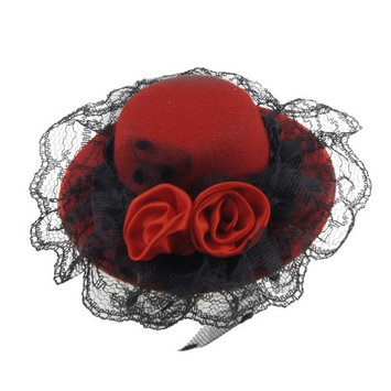 THZY Ladies Red Double Flowers Hat Shaped Alligator Hair Clip