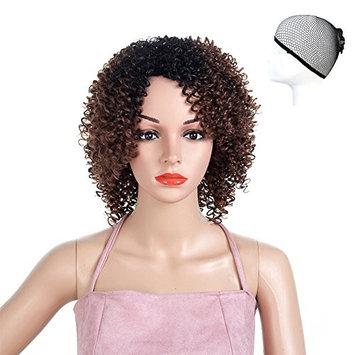 ZoeYing Women's fashion gradual change hairpiece fleeciness curls short hair high temperature silk chemical fiber small curl (brown)