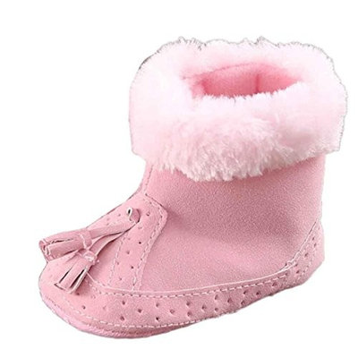 For 0-18 Mnoths Girls Boys,Clode® Cute Infant Baby Pink Tassel Cotton Soft Sole Snow Boots Soft Crib Shoes Toddler Boots