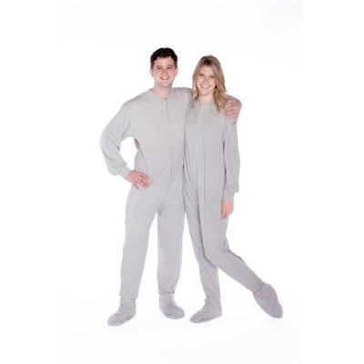 Big Feet Pajamas Big Feet Pjs Gray Cotton Jersey Knit Adult Footie Footed Pajamas W/ Drop Seat