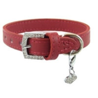 Furry Fashionista Jeweled Buckle Leather Dog Collar By FURRY