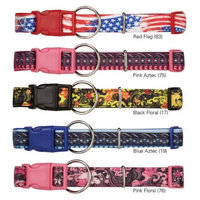 Petedge Dealer Services CC Neoprene Dog Collar 18-26In Blk Floral