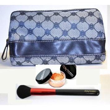 Bundle 3 Items: Itay Mineral Foundation Mf-5 Dulce De Leche Tan Full Coverage 100% Natural +Powder Brush + Blue Makeup Case