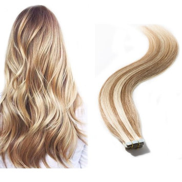 Tape in Hair Extensions 100% Remy Human Hair Double Side Tape Seamless Skin Weft Natural Hair Extensions 20pcs Long Straight #12/613 Light Brown mix Bleach Blonde 18 inch 50g [#12/613, 18inch]