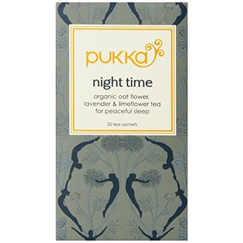 Pukka Herbal Teas Night Time Organic Oat Flower Lavender and Lime Flower Tea, 20g 20 Count