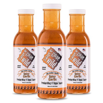 Sauce Gone Wild Wing Sauce - Spicy Garlic Flavor -13.1oz - 3 Bottles - Hot Marinade for Grilling & Cooking Chicken - Made in USA - Tasty Restaurant Style Wings at Home [Spicy Garlic - 13.1 Fl Oz]