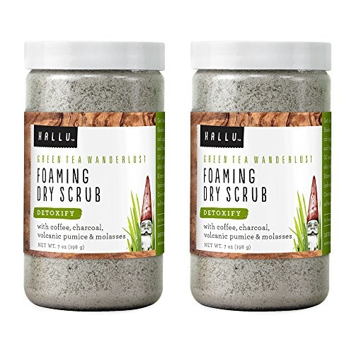 Hallu Body Scrub, Foaming Dry Scrub, Gnome, Green Tea Scent, 7 oz, Pack of 2