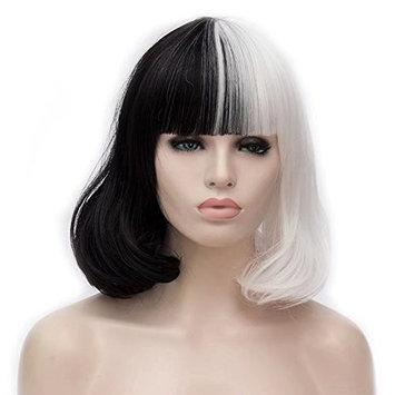 COSPLAZA Cosplay Wig Short BOB Style Natural Loose Wave Flat Bangs Black White Heat Resistant Hair