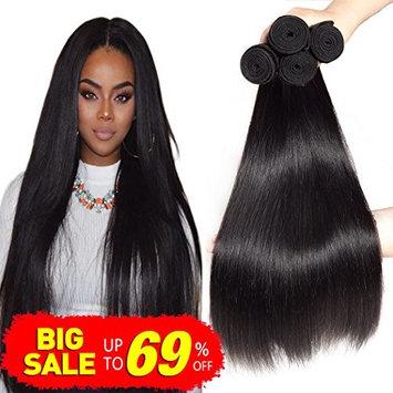 Bestsojoy 8A Brazilian Virgin Hair Straight 4 Bundles Brazilian Human Hair Extensions 100% Unprocessed Human Hair Weave Natural Color (16 18 20 22)
