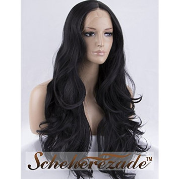 Scheherezade Natural Wavy Black Lace Front Wigs for Women 22 Inches #1B Glueless Middle Part Front Lace Synthetic Wigs Long Heat Resistant Half Hand Tied Realistic Hair