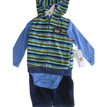 Buster Brown Baby Boys Blue Striped Hooded Vest Onesie 3 Pc Pants Set 24M