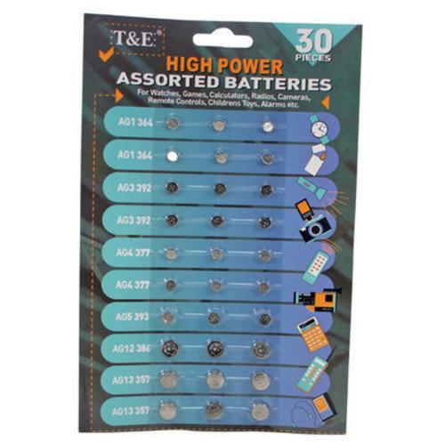 Assortment of Button Cell Batteries AG1 AG3 AG4 AG5 AG12 AG13 Assorted Pack