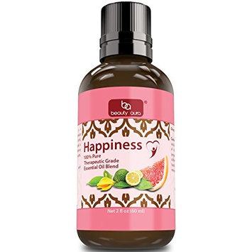 Beauty Aura Happiness Essential Oil Blend (2 Oz.)- Therapeutic Grade- Exclusive blend of essential oils to promote Happy Feelings - Blend of Bergamot, Grapefruit & Ylang Ylang Oils